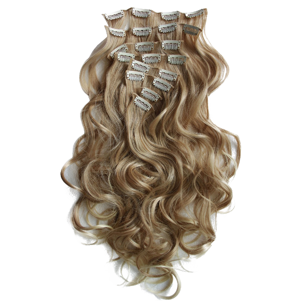 Clip In Hair Extensions Full Head Hairpiece Wavy Curled